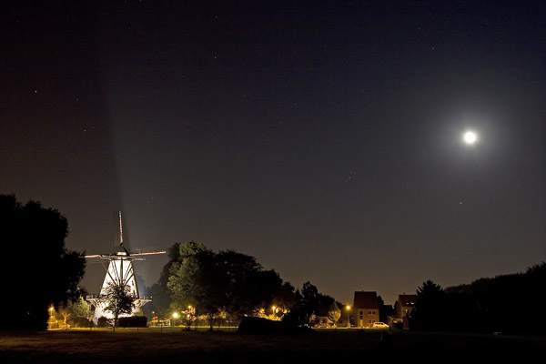 moon and mars with old mill